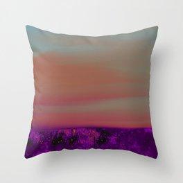 """Twilight Meadow"" (Peach/Violet) Digital Painting // Fine Art Print Throw Pillow"