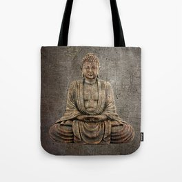 Sitting Buddha On Distressed Metal Background Tote Bag