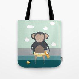 Monkey Eating Crisps Tote Bag