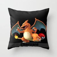 charizard Throw Pillows featuring Charizard by Yamilett Pimentel