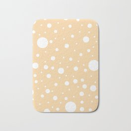 Mixed Polka Dots - White on Sunset Orange Bath Mat