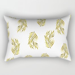 Olive Green Watercolour Branch Rectangular Pillow