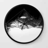snowboard Wall Clocks featuring Crystal Mountain by Schwebewesen • Romina Lutz