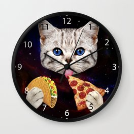 Space Cat with taco and pizza Wall Clock