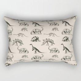 Museum Animals | Dinosaur Skeletons on Cream Rectangular Pillow