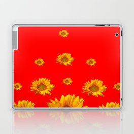 FLOATING GOLDEN YELLOW SUNFLOWERS RED COLOR Laptop & iPad Skin