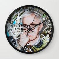 woody allen Wall Clocks featuring Woody Allen by John Turck