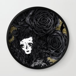 Rose Moth Fairy Wall Clock