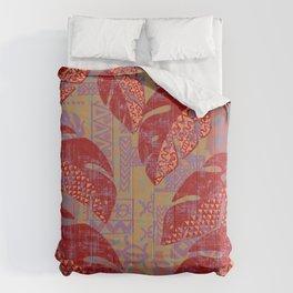 Hawaiian Lava Leaves Tapa Print Comforters
