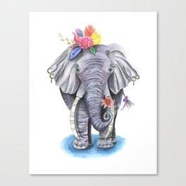 Elephant Art with Flower Crown Canvas Print