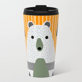 Cute bear, stripes and a fir forest Travel Mug