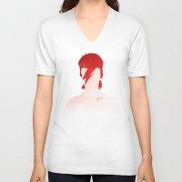 aladdin V-neck T-shirts featuring Aladdin Sane by Vito Spatafora