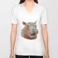 hippo V-neck T-shirts featuring abstract hippo by Ancello