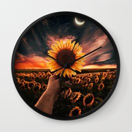 Moon flowers Wall Clock