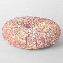 Pink and Gold Mandala Doodle Patterns Floor Pillow