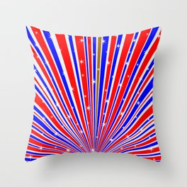 Color Rays Background With Stars Throw Pillow