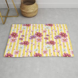 Pastel Flowers on Yellow Stripes Rug