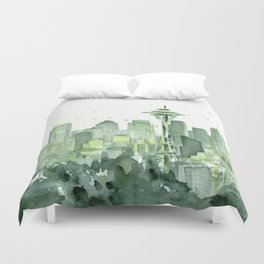 Seattle Watercolor Painting Duvet Cover