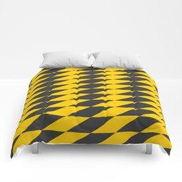 Slanted Checkers Black & Yellow Comforters