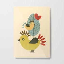 Three Birds and a Leaf Metal Print