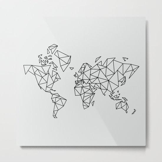 Geometric Low Poly Map of The World / Polygon geometry Metal Print