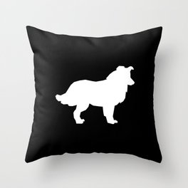 Border Collie black and white minimal silhouette dog silhouettes dog breeds portrait Throw Pillow