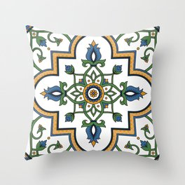 Spanish Tile Pattern – Andalusian ceramic from Seville Throw Pillow