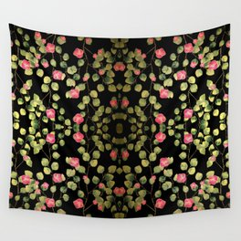 """""""Spring pink flowers and leaves - Black"""" Wall Tapestry"""