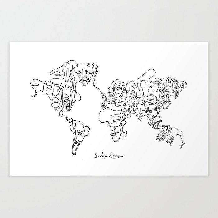 One World, One Line Art Print