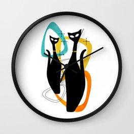 Mid Century Atomic Cats Wall Clock