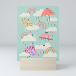 Happy Spring Showers - Aqua Mini Art Print