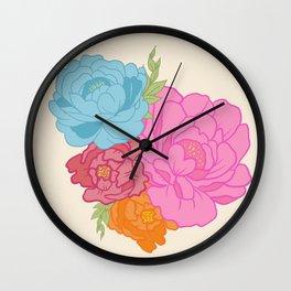 Pioenrozen rose flowers peony  Wall Clock