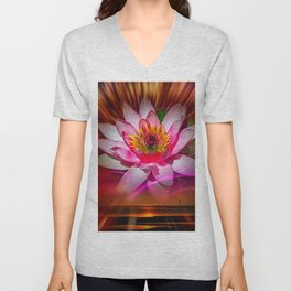Wellness Water Lily Rose  6 Unisex V-Neck
