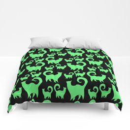 Green Snobby Cats Comforters