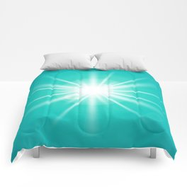 turquoise and light effect Comforters
