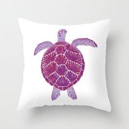 Magenta Sea Turtle Throw Pillow