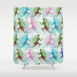 Watercolor women runner pattern Shower Curtain