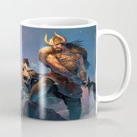 league of legends Mugs featuring League of Legends-Tryndamere and Ashe by RJ Palmer