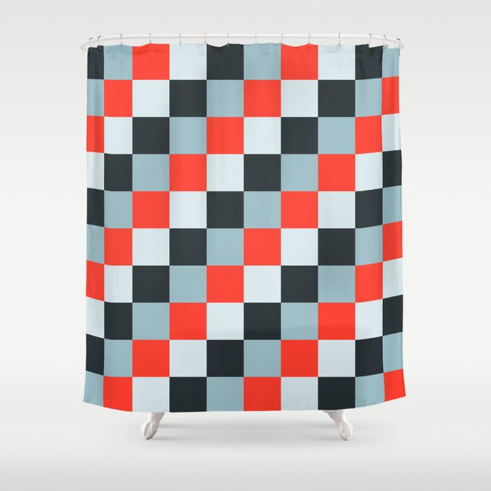 Stainless steel knife - Pixel patten in light gray , light blue and red Shower Curtain