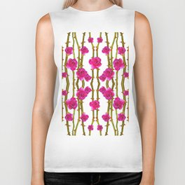 "FUCHSIA PINK ""ROSES & THORNS"" WHITE ART Biker Tank"