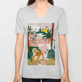 It doesn't matter where you're going, it's who you have beside you #painting #illustration Unisex V-Neck