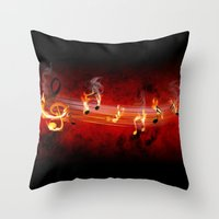 music notes Throw Pillows featuring Hot Music Notes by FantasyArtDesigns