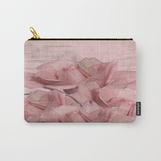Vintage Pink On Pink Roses Carry-All Pouch