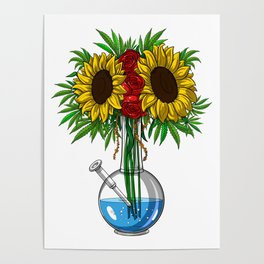 Weed Bong Vase Poster