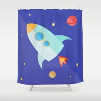 spaceship Shower Curtains featuring Spaceship by Marta Perego
