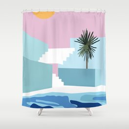 Pool & Steps Shower Curtain