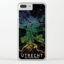 Utrecht, Netherlands, City, Map, Rainbow, Map, Art, Print Clear iPhone Case