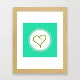 Green Heart with Love Framed Art Print
