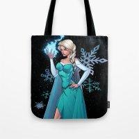 frozen elsa Tote Bags featuring Frozen - Elsa by J Skipper