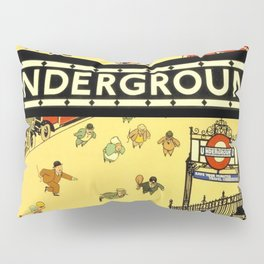 Vintage Lure of the London Underground Subway Travel Advertisement Poster Pillow Sham